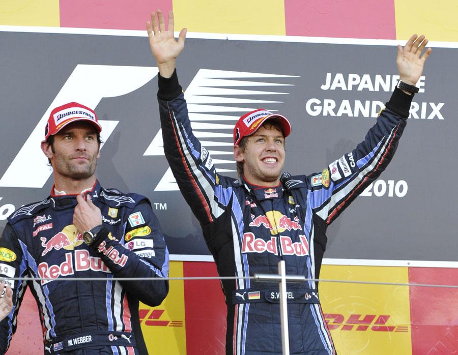 Sebastian Vettel and Mark Webber on the podium