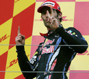 Mark Webber celebrates his podium finish