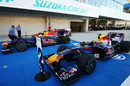 Sebastian Vettel and Mark Webber in parc ferme