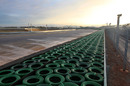 A tyre barrier and run-off area at the Korean International Circuit