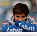 A dejected Damon Hill after he spun off