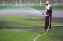 Grass surrounding the circuit is watered