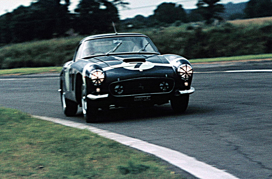 Stirling Moss in his Ferrari at Goodwood