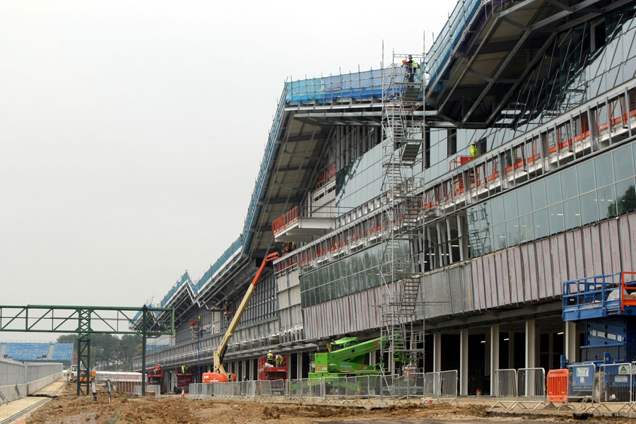 The new pit lane at Silverstone under construction