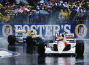 Ayrton Senna leads Nigel Mansell at the 14-lap Australian Grand Prix