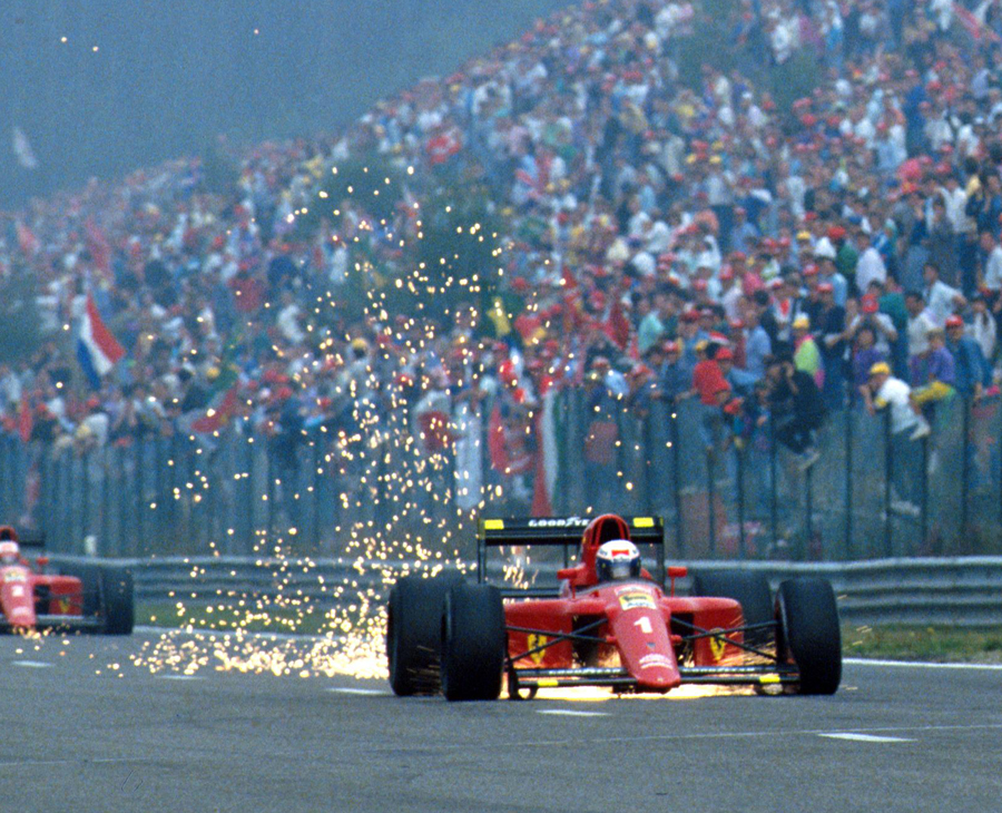 Alain Prost leaves a trail of sparks