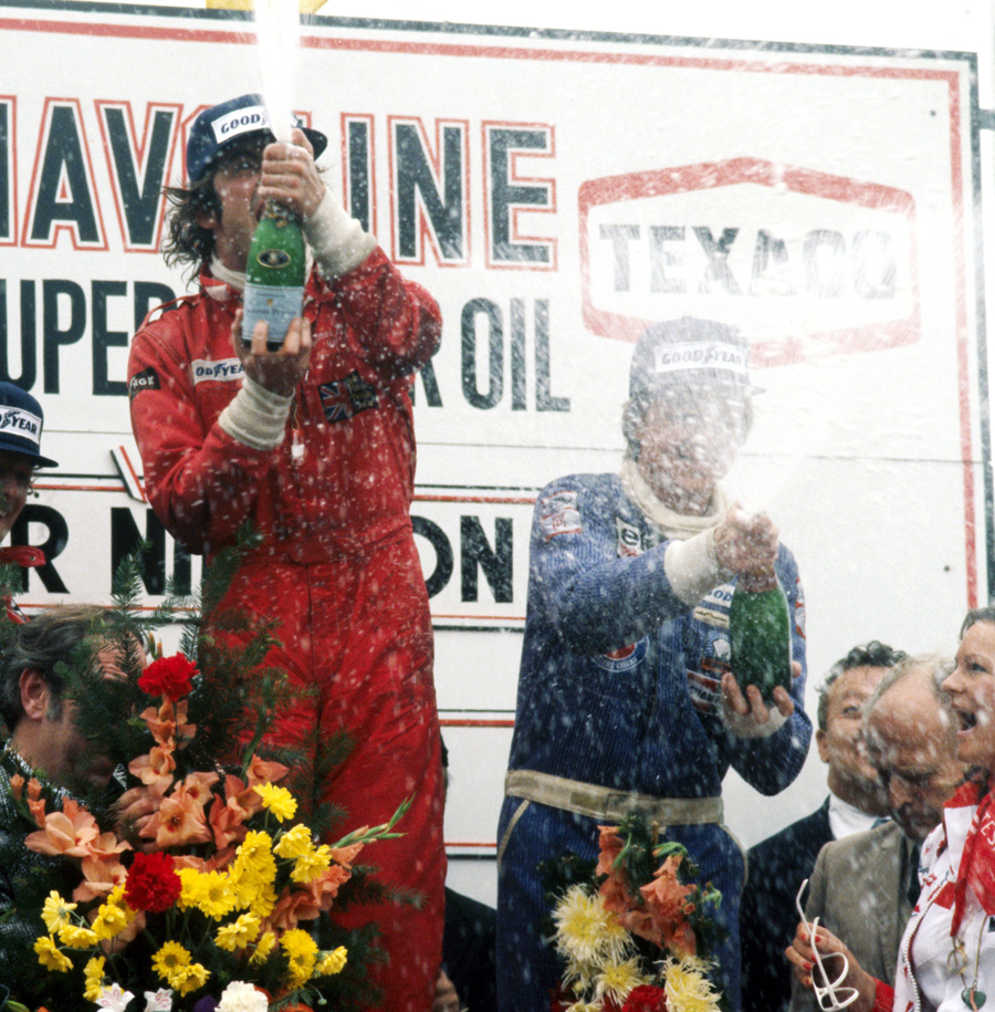 Gunnar Nilsson celebrates his only grand prix win