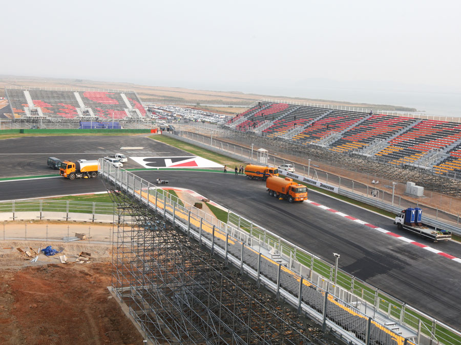 A view of the first corner from the main grandstand