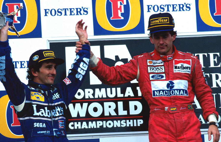 Race winner Ayrton Senna and Alain Prost, who was making his F1 farewell