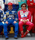 All smiles before the race ... Nigel Mansell and Ayrton Senna