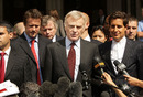 Max Mosley talks to reporters outside the High Court after winning his legal action against the <I>News of the World</I>