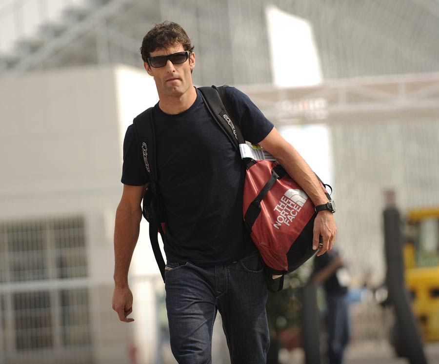 Mark Webber arrives at the circuit