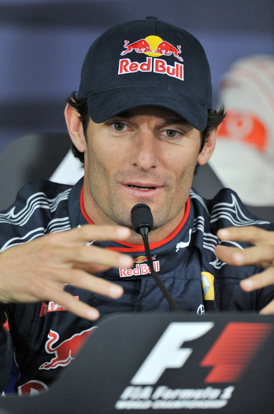 An animated Mark Webber during Thursday's press conference