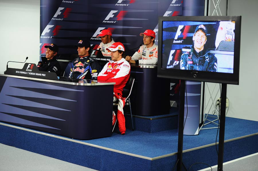 Sebastian Vettel in relaxed mood in the press conference