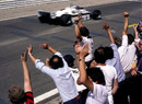 Williams celebrate Keke Rosberg's first career win, and the only one of his championship-winning season