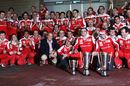 The Ferrari team celebrates victory