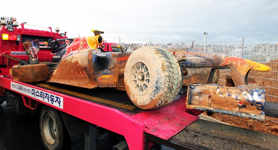 The wreckage of Mark Webber's Red Bull