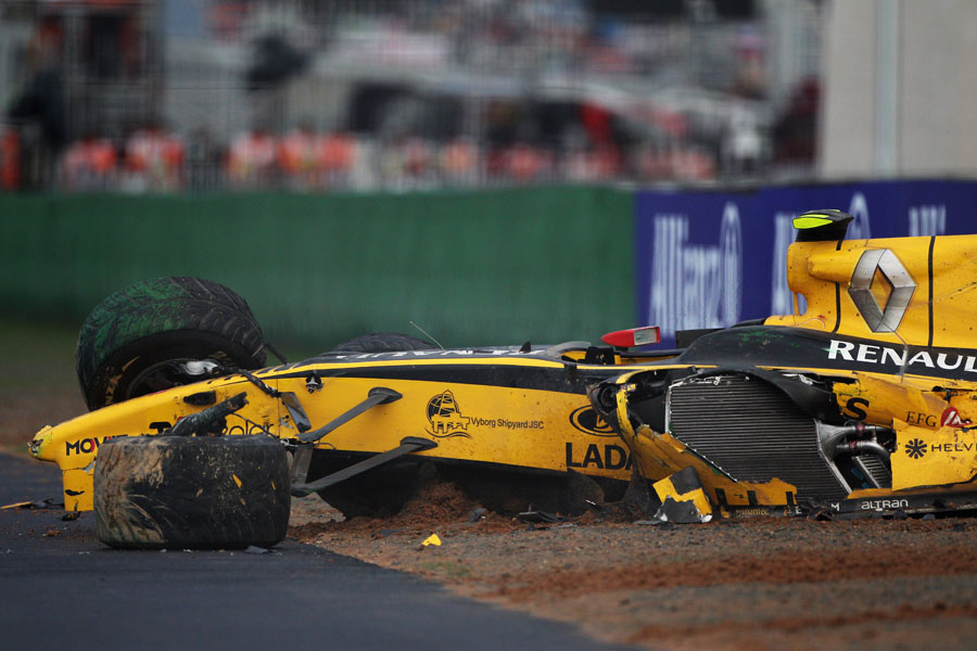 Vitaly Petrov's wrecked Renault