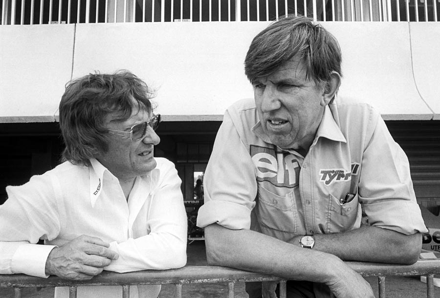 Bernie Ecclestone talks to Ken Tyrrell at the 1976 French Grand Prix