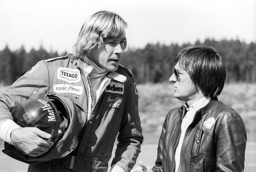 James Hunt talks to Brabham owner Bernie Ecclestone at the Swedish Grand Prix