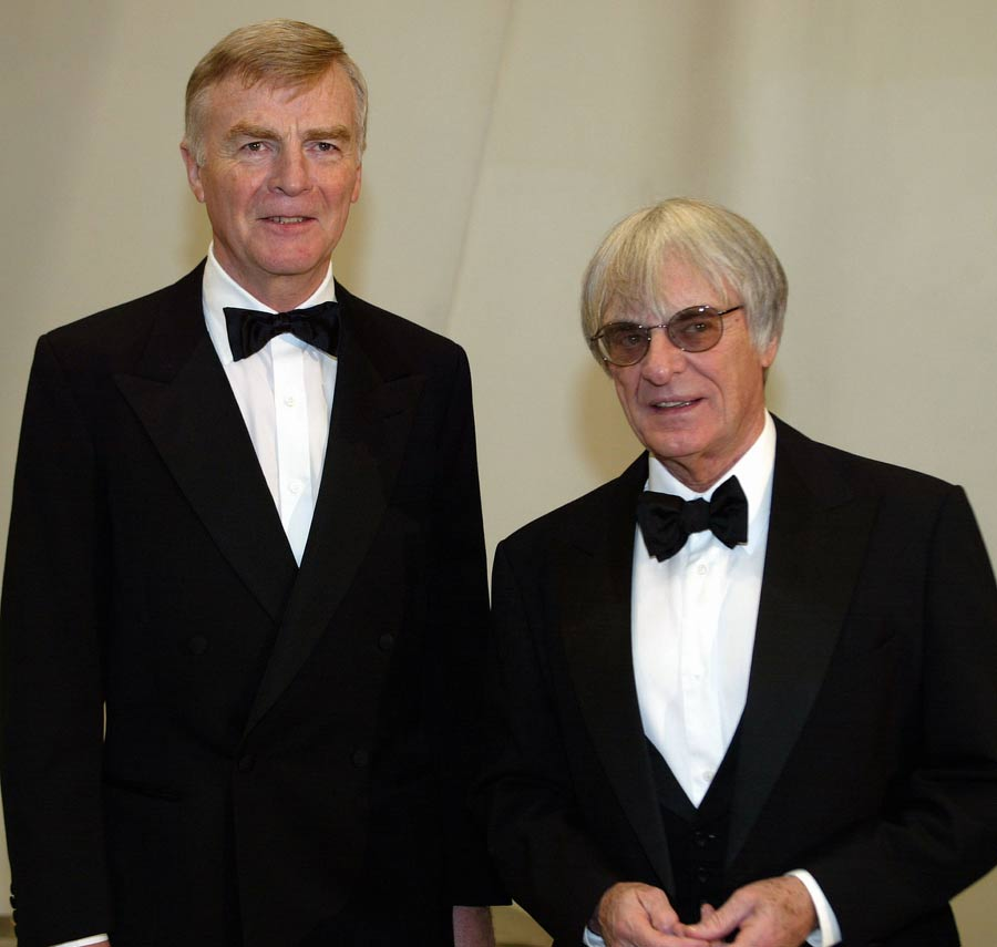 FIA President Max Mosley with Bernie Ecclestone at the FIA 2002 Gala Prize Giving