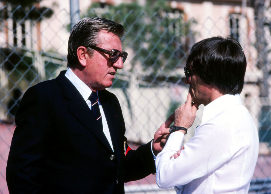 FISA president Jean Marie Balestre in conversation with FOCA CEO Bernie Ecclestone at the height of the FISA-FOCA war