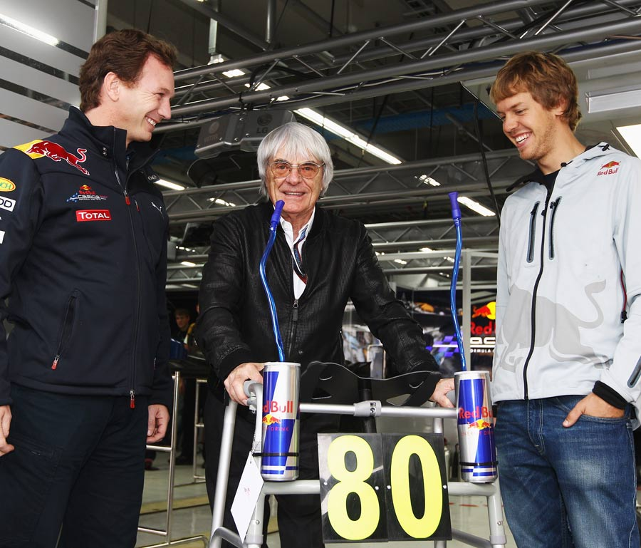 Red Bull Racing presents Bernie Ecclestone with a zimmer frame for his 80th birthday