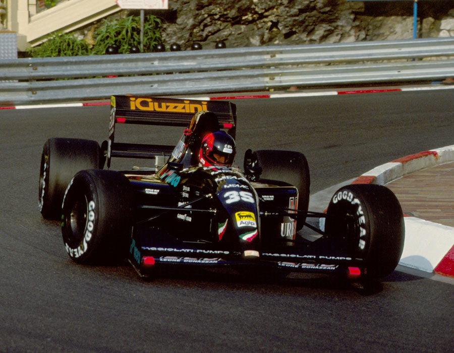 Perry McCarthy negotiates the Loews Hairpin in his Andrea Moda