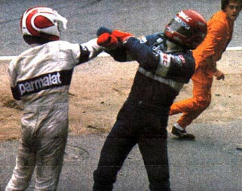 Nelson Piquet punches Eliseo Salazar after the pair collided