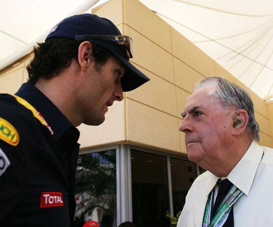 Mark Webber meets three time World Champion Jack Brabham during the Bahrain Grand Prix