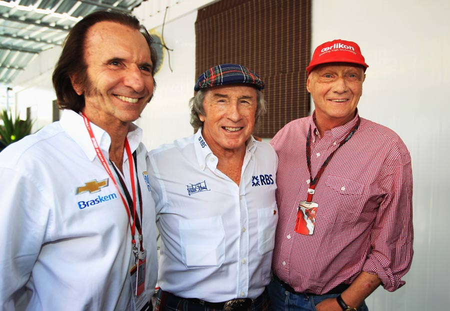 Formula One legends Emerson Fittipaldi, Jackie Stewart and Niki Lauda on Sunday