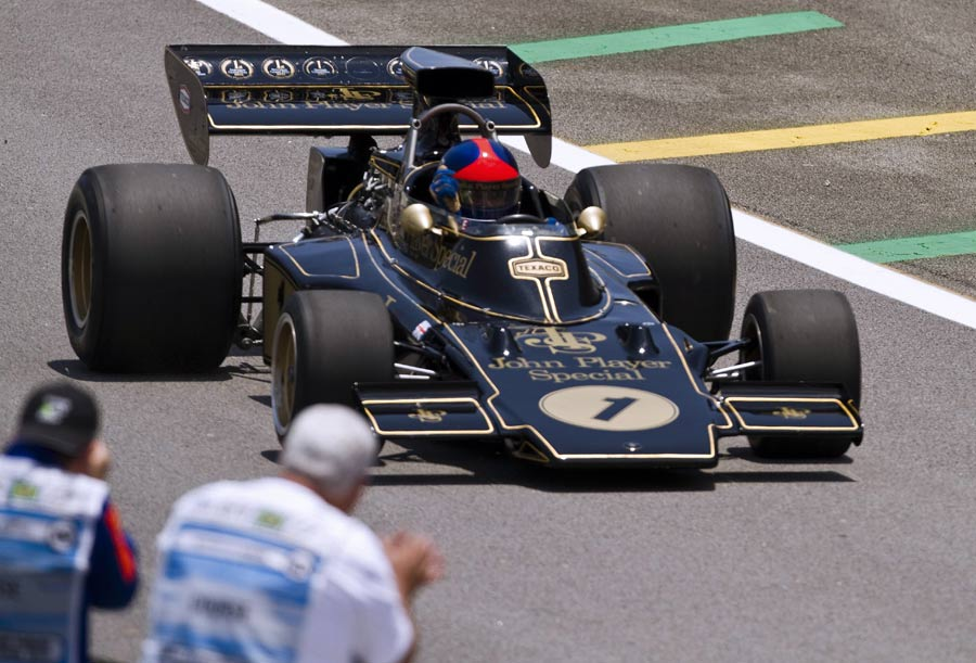 Emerson Fittipaldi drives his Lotus 72 before the Brazilian Grand Prix