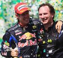 Sebastian Vettel celebrates with team boss Christian Horner