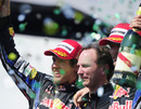 Sebastian Vettel, Christian Horner and Mark Webber celebrate on the podium