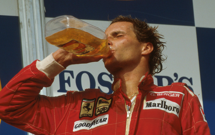 Gerhard Berger celebrates his victory at the Australian Grand Prix