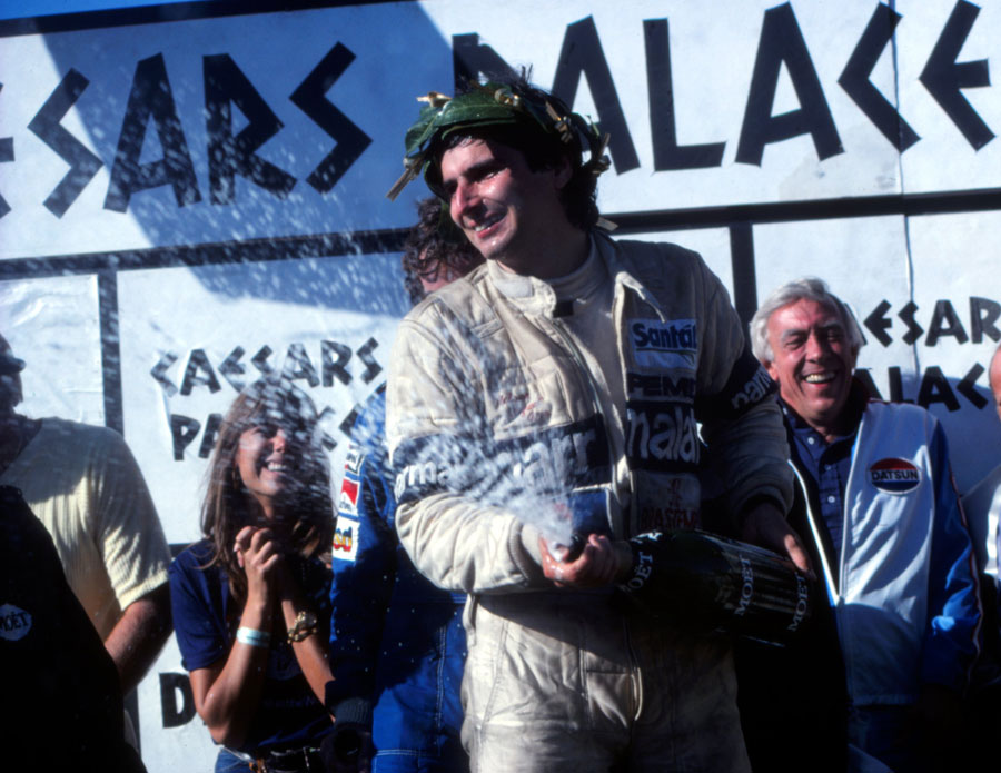 Nelson Piquet celebrates his first world title with Brabham