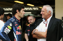Mark Webber chats with Dietrich Mateschitz at an end-of-season photoshoot