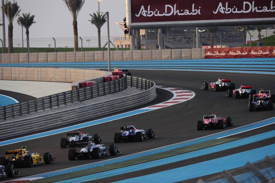 Sebastian Vettel leads the field