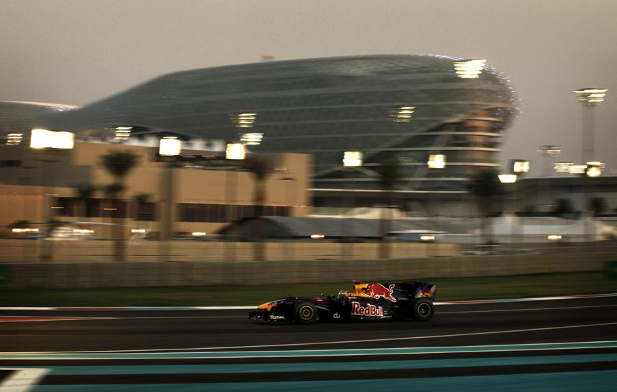 Sebastian Vettel leads the race
