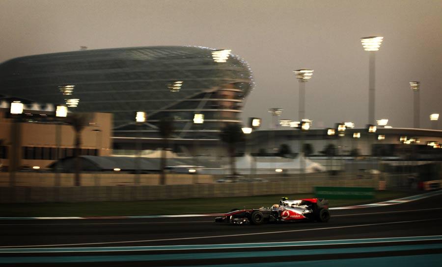 Lewis Hamilton laps the Yas Marina circuit