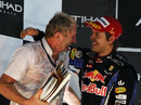 Helmut Marko celebrates the cahmpionship victory with Sebastian Vettel