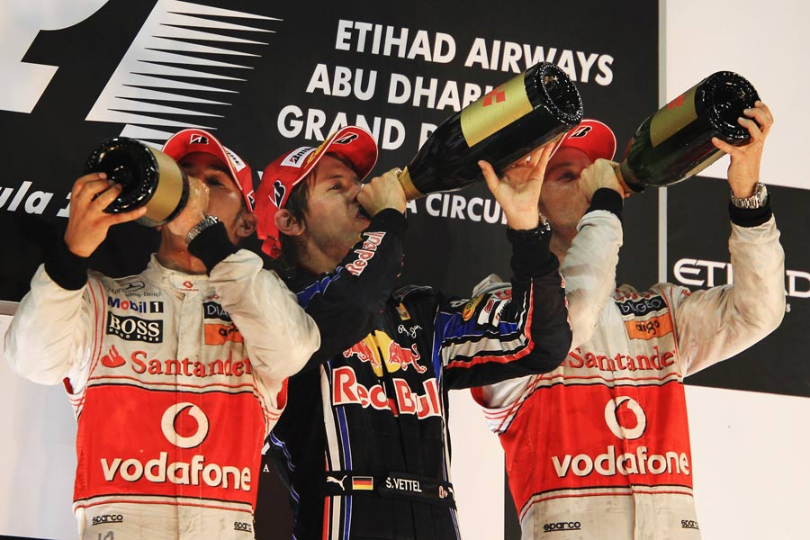 The last three world champions quench their thirst on the podium