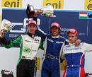 David Valesecchi celebrates victory with Luiz Razia and Romain Grosjean