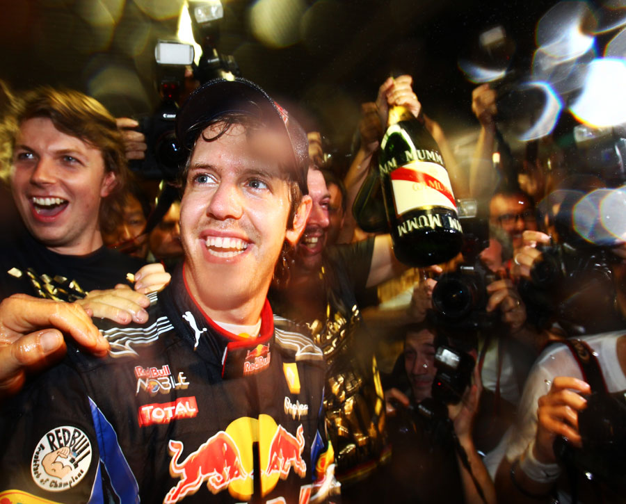 Sebastian Vettel enjoys the after party at Red Bull