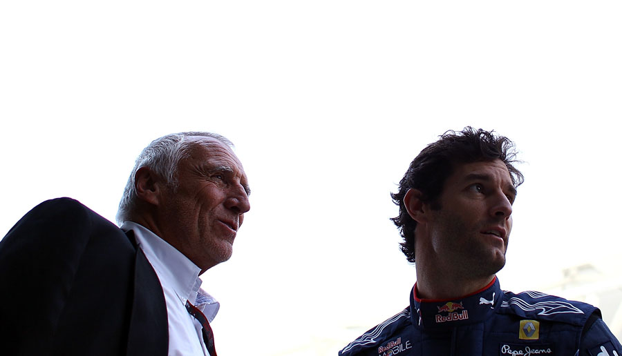 Dietrich Mateschitz and Mark Webber before the title decider