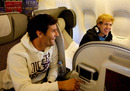 Mark Webber and Sebastian Vettel put their differences aside on the plane home