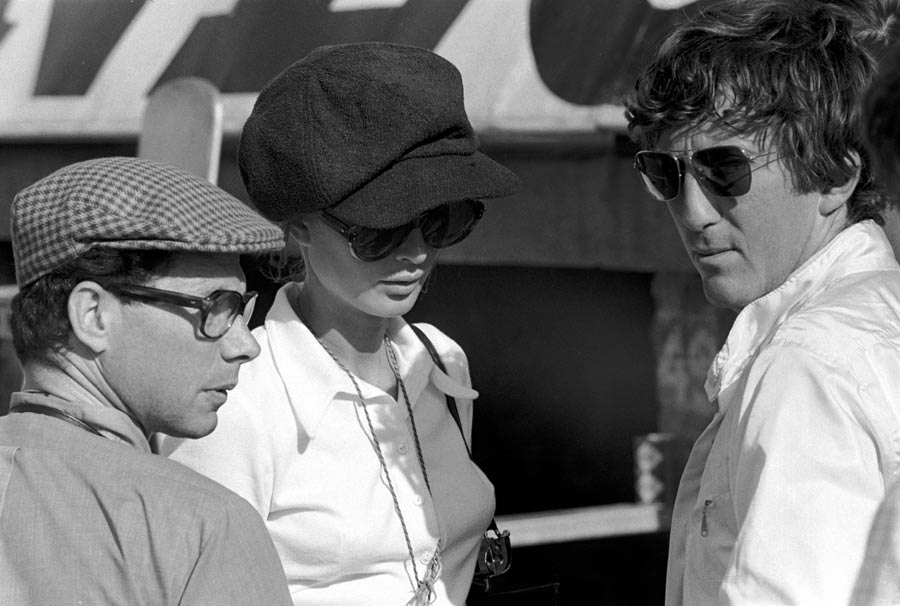 Jabby Crombac with Nina and Jochen Rindt at the 1969 British Grand Prix