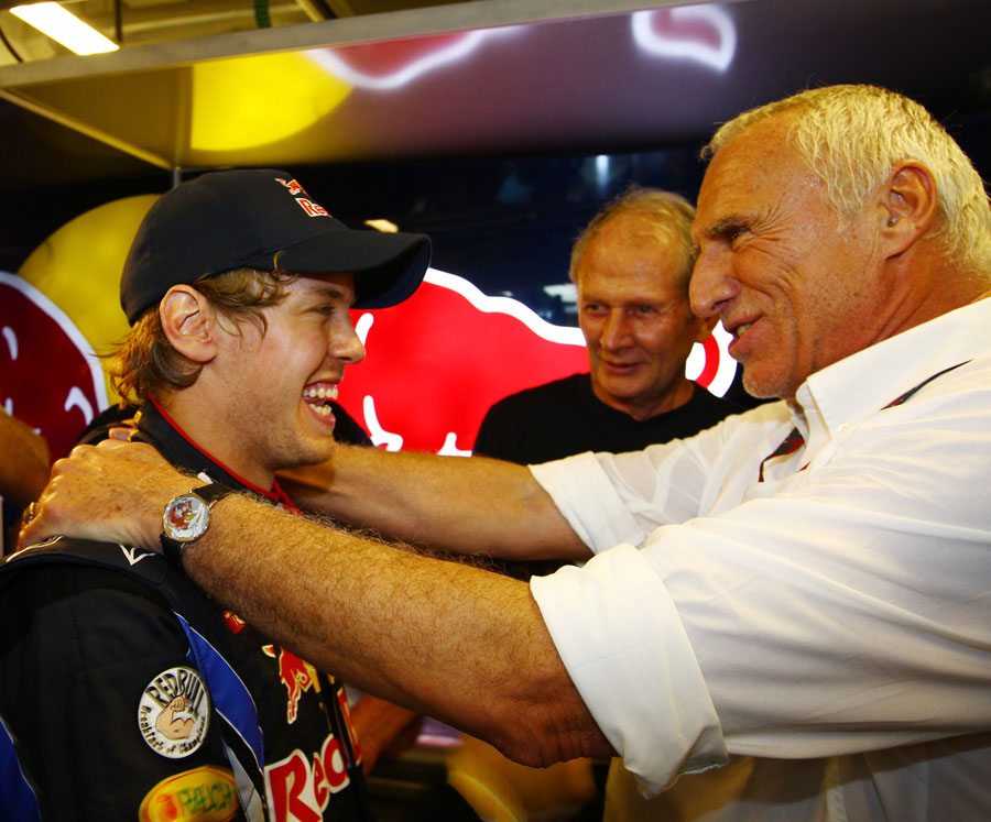 Dietrich Mateschitz celebrates with Sebastian Vettel
