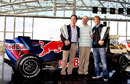 Christian Horner, Adrian Newey and Sebastian Vettel at a press conference for Servus TV