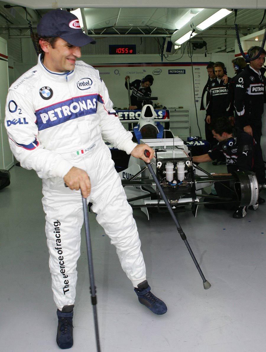 Alessandro Zanardi takes part in a BMW test